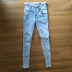 RARE-Free People Raw Waistline Distressed Jeans